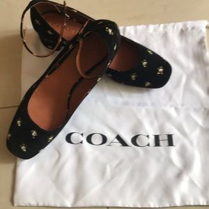 Coach Black suede with prairie print. Unworn.